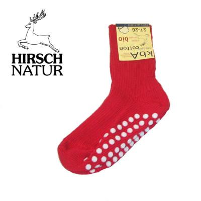 Chaussettes Hirsch - Chaussettes anti-dérappantes en coton bio - Rouge