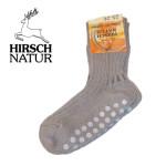 Racine/Hirsch - Chaussettes anti-dérappantes en coton bio teinture végétale - Gris Fumée