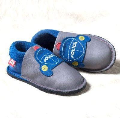 POLOLO KIGA - chaussons souples en cuir naturel avec semelle antidérappante (24-33) Chausson Pololo POLICE (24 à 33)  avec semelle antidérapante