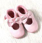 POLOLO SOFT - Chaussons souples en cuir naturel de tannage végétal pour bébés et bambins (16 à 27)/Chausson Pololo BALLERINA rosé (18-23)