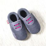 POLOLO SOFT - Chaussons souples en cuir naturel de tannage végétal pour enfants (24 à 39)/Chausson Pololo SPORTY graphite-pink (18 à 33)