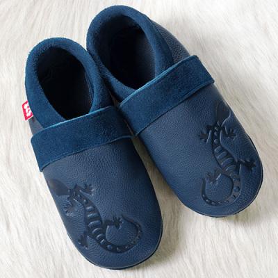Chaussons en cuir souples, chaussettes, guêtres, jambières Chausson Pololo GECKO bleu (34 à 41)