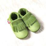 POLOLO SOFT - Chaussons souples en cuir naturel de tannage végétal pour enfants (24 à 39)/Chausson Pololo BIO – MOCASSIN pistache (18 à 33)