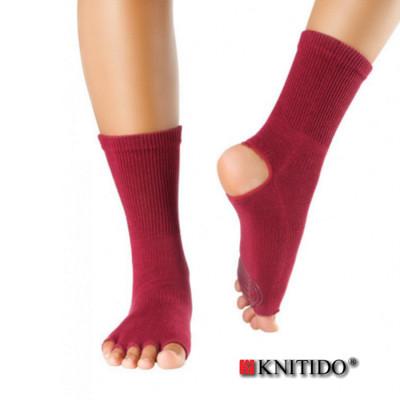 Chaussettes à doigts KNITIDO Knitido – Chaussetttes anti-dérapantes ouvertes – ROUGE BORDEAUX