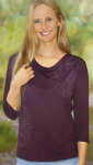 Racine/T-Shirt SURYA manches 3/4 aubergine