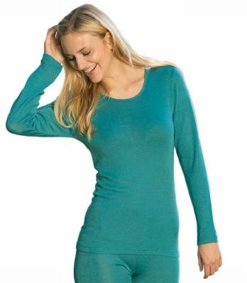 Vêtements et sous-vêtements laine et soie Engel Natur SOUS-PULL en laine/soie FEMME vert d'eau