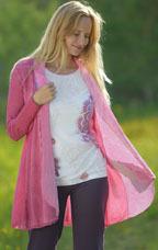 Gilets pour Femmes Cardigan coton bio et soie rose