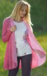 Gilets pour Femmes/Cardigan coton bio et soie rose
