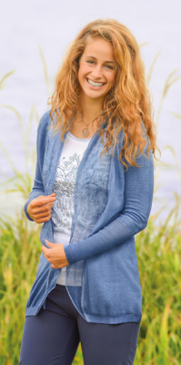 Gilets pour Femmes Cardigan coton bio et soie bleu/jean