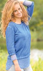 Racine Pull coton/bio et soie bleu jean