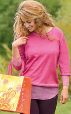 Racine Pull coton/bio et soie vieux rose