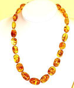 Idées Cadeaux Collier ambre ovale miel 54 cm (pièce unique)