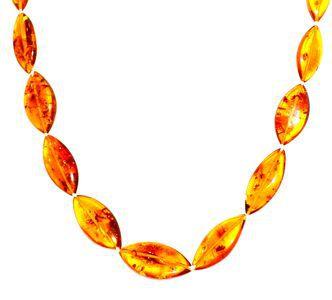 A TRIER Collier ambre ovale plat miel 56 cm (pièce unique)