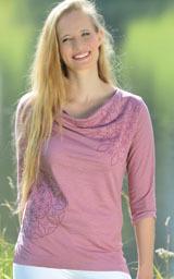 A TRIER T-Shirt manches 3/4 SURYA Vieux Rose