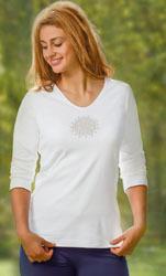 A TRIER T-Shirt manches 3/4 fleurs de vie blanc