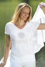 Idées Cadeaux T-Shirt de YOGA BLANC avec broderie Fleur D'harmonie
