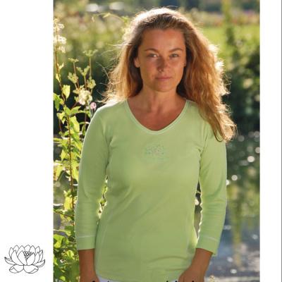 Idées Cadeaux T-Shirt manches 3/4 Vert Kiwi Lotus OM Namasté