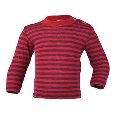 SOUS-VÊTEMENTS pour bébés et enfants ENGEL – SOUS-PULL Cerise/violet manches longues RAYURES  en laine/soie (86-152)