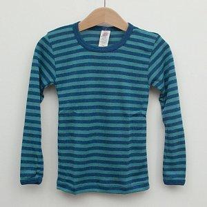 Sous-vêtements ENGEL – SOUS-PULL Océan/Turquoise manches longues RAYURES  en laine/soie (86-152)