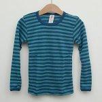 ENGEL – SOUS-PULL Océan/Turquoise manches longues RAYURES  en laine/soie (86-152)