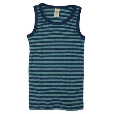 Racine ENGEL - Débardeur enfant à rayures Océan/turquoise en laine et soie (86-152)
