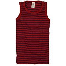 Sous-vêtements DEBARDEUR enfant à RAYURES rouge/violet en LAINE et SOIE (86-152)