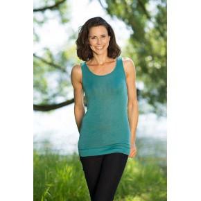 Vêtements et sous-vêtements laine et soie Engel Natur DEBARDEUR long en laine/soie FEMME – VERT MENTHE
