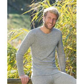 Vêtements et sous-vêtements laine et soie Engel Natur SOUS-PULL en laine/soie – HOMME GRIS