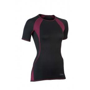 A TRIER T-shirt ENGEL manches courtes spécial sport noir/rouge bordeaux