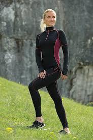 A TRIER Leggings sport femme noir coutures bordeaux
