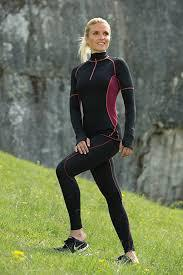 Vêtements et sous-vêtements laine et soie Engel Natur Leggings sport femme noir coutures bordeaux