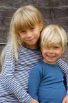 SOUS-VÊTEMENTS pour bébés et enfants/SOUS-PULL et LEGGINGS BLEU et RAYURES ECRU/BLEU en Laine/soie (62-128)