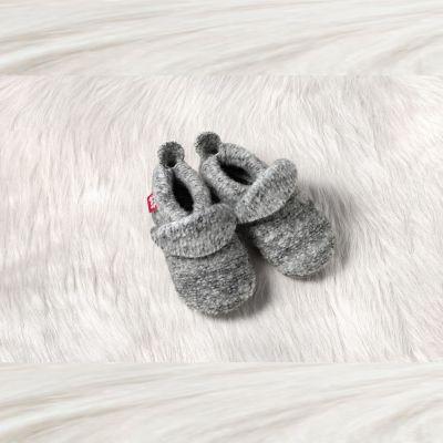 POLOLO SOFT - Chaussons souples en cuir naturel de tannage végétal Chaussons POLOLO 2018/19 en laine uni gris chiné tailles (20/21-34/35)