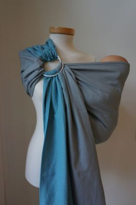 Racine RingSling STORCHENWIEGE Léo turquoise-gris