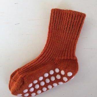 Idées Cadeaux Chaussettes antidérapantes en laine bio - Orange chiné