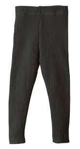 DISANA DISANA - Leggings tricoté côtelé Anthracite 100% laine mérinos bio