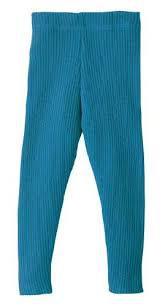 DISANA DISANA - Leggings tricoté côtelé Bleu 100% laine mérinos bio