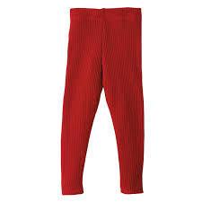 DISANA DISANA - Leggings tricoté côtelé Rouge bordeaux 100% laine mérinos bio