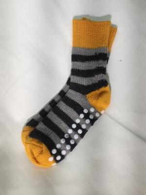 Chaussettes Hirsch 2019 - Chaussettes antidérapantes en laine bio Safran-Gris-Noir