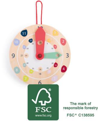 Jeux et Jouets Legler 2020 - Horloge éducative en bois certifié FSC®