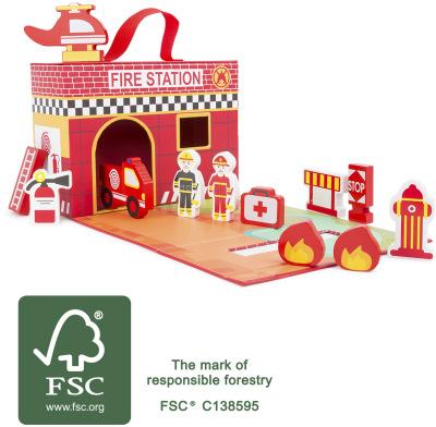 Jeux et Jouets Legler 2020 - Valise transportable Caserne, ferme ou princesse  en bois certifié FSC® 100%