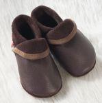 POLOLO SOFT - Chaussons souples en cuir naturel de tannage végétal pour enfants (24 à 39)/Chausson Pololo CLASSIC marron (18 à 33)