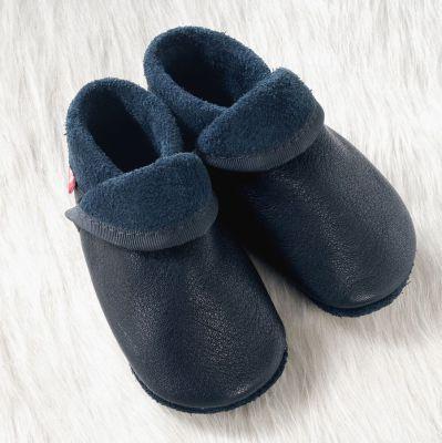 POLOLO SOFT - Chaussons souples en cuir naturel de tannage végétal Chausson Pololo CLASSIC bleu (18 à 33)