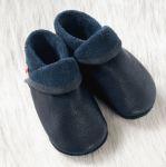 POLOLO SOFT - Chaussons souples en cuir naturel de tannage végétal pour enfants (24 à 39)/Chausson Pololo CLASSIC bleu (18 à 33)