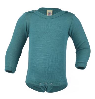 Débardeurs, T-shirts, pulls, gilets, multicapes et bodys ENGEL Nouveauté - Body bébé en laine et soie Bleu Glacier (50 au 92)