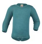 Racine/ENGEL Nouveauté - Body bébé en laine et soie Bleu Glacier (50 au 92)