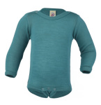 Débardeurs, T-shirts, pulls, gilets, multicapes et bodys/ENGEL Nouveauté - Body bébé en laine et soie Bleu Glacier (50 au 92)