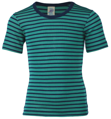 """Sous-vêtements ENGEL Nouveauté - Sous - pull """"t-shirts"""" manches courtes à rayures en laine et soie (86-164)"""