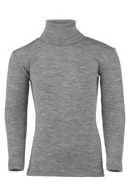 Débardeurs, T-shirts, pulls, gilets, multicapes et bodys ENGEL Nouveauté - Col roulé gris chiné en laine et soie (tailles 86/92 à 152)