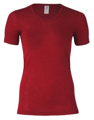 Coup de coeur ENGEL - Sous-pull femme manches courtes  en laine/soie Rouge rubis